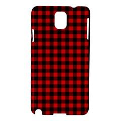 Lumberjack Plaid Fabric Pattern Red Black Samsung Galaxy Note 3 N9005 Hardshell Case by EDDArt