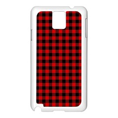 Lumberjack Plaid Fabric Pattern Red Black Samsung Galaxy Note 3 N9005 Case (white) by EDDArt