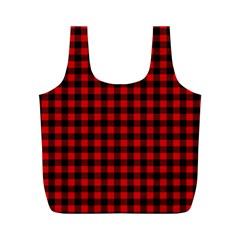 Lumberjack Plaid Fabric Pattern Red Black Full Print Recycle Bags (m)  by EDDArt