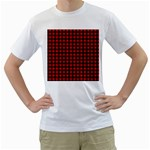 Lumberjack Plaid Fabric Pattern Red Black Men s T-Shirt (White)