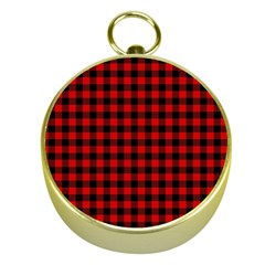Lumberjack Plaid Fabric Pattern Red Black Gold Compasses by EDDArt
