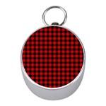 Lumberjack Plaid Fabric Pattern Red Black Mini Silver Compasses