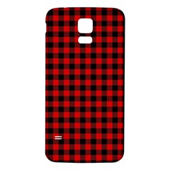 Lumberjack Plaid Fabric Pattern Red Black Samsung Galaxy S5 Back Case (white) by EDDArt