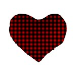 Lumberjack Plaid Fabric Pattern Red Black Standard 16  Premium Flano Heart Shape Cushions