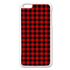 Lumberjack Plaid Fabric Pattern Red Black Apple Iphone 6 Plus/6s Plus Enamel White Case by EDDArt