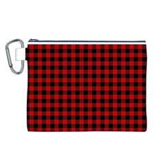 Lumberjack Plaid Fabric Pattern Red Black Canvas Cosmetic Bag (l) by EDDArt