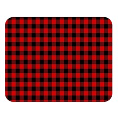 Lumberjack Plaid Fabric Pattern Red Black Double Sided Flano Blanket (large)  by EDDArt