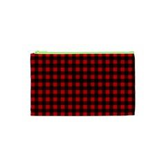 Lumberjack Plaid Fabric Pattern Red Black Cosmetic Bag (xs) by EDDArt