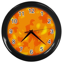 Orange Decor Wall Clocks (black) by Valentinaart