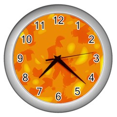 Orange Decor Wall Clocks (silver)  by Valentinaart