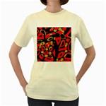 Red artistic design Women s Yellow T-Shirt