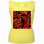 Red artistic design Women s Yellow Tank Top