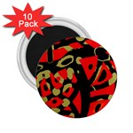 Red artistic design 2.25  Magnets (10 pack)