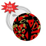 Red artistic design 2.25  Buttons (100 pack)