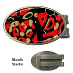 Red artistic design Money Clips (Oval)