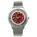 Red artistic design Stainless Steel Watch