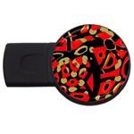Red artistic design USB Flash Drive Round (4 GB)