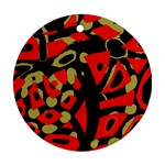 Red artistic design Round Ornament (Two Sides)