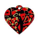 Red artistic design Dog Tag Heart (One Side)