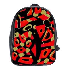 Red Artistic Design School Bags (xl)  by Valentinaart