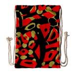 Red artistic design Drawstring Bag (Large)