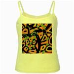 Abstract animal print Yellow Spaghetti Tank