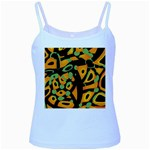 Abstract animal print Baby Blue Spaghetti Tank