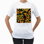 Abstract animal print Women s T-Shirt (White) (Two Sided)