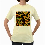 Abstract animal print Women s Yellow T-Shirt