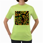 Abstract animal print Women s Green T-Shirt