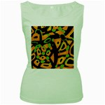 Abstract animal print Women s Green Tank Top