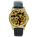 Abstract animal print Round Gold Metal Watch