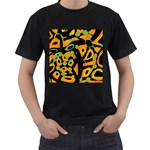 Abstract animal print Men s T-Shirt (Black) (Two Sided)