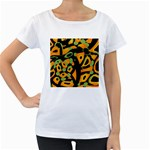Abstract animal print Women s Loose-Fit T-Shirt (White)
