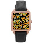 Abstract animal print Rose Gold Leather Watch