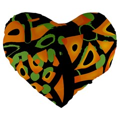 Abstract Animal Print Large 19  Premium Flano Heart Shape Cushions by Valentinaart