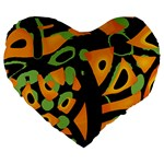 Abstract animal print Large 19  Premium Flano Heart Shape Cushions