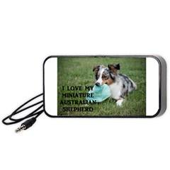Blue Merle Miniature American Shepherd Love W Pic Portable Speaker (Black)  by TailWags