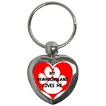My Newfie Loves Me Key Chains (Heart)