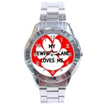 My Newfie Loves Me Stainless Steel Analogue Watch