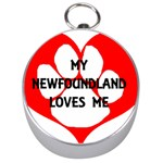 My Newfie Loves Me Silver Compasses
