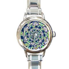 Power Spiral Polygon Blue Green White Round Italian Charm Watch by EDDArt