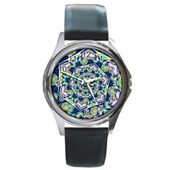 Power Spiral Polygon Blue Green White Round Metal Watch by EDDArt
