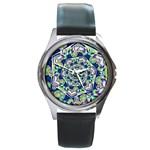 Power Spiral Polygon Blue Green White Round Metal Watch
