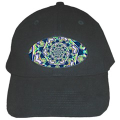 Power Spiral Polygon Blue Green White Black Cap by EDDArt