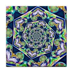 Power Spiral Polygon Blue Green White Tile Coasters by EDDArt