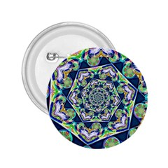 Power Spiral Polygon Blue Green White 2 25  Buttons by EDDArt