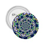 Power Spiral Polygon Blue Green White 2.25  Buttons