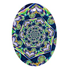 Power Spiral Polygon Blue Green White Ornament (oval)  by EDDArt