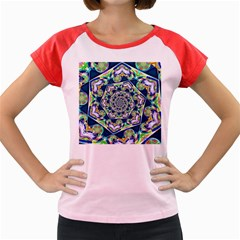 Power Spiral Polygon Blue Green White Women s Cap Sleeve T Shirt by EDDArt
